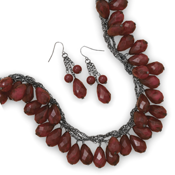 Faceted Red Bead Fashion Necklace and Earring Set