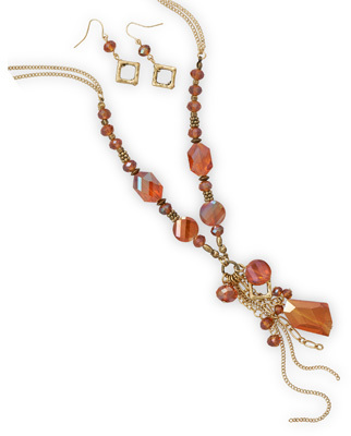Gold Tone Fashion Set with Orange Glass - DISCONTINUED