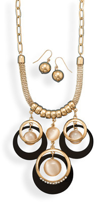 Gold Tone Geometric Fashion Set