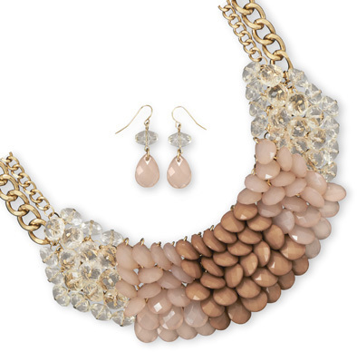 Gold Tone Taupe Cluster Bead Fashion Set