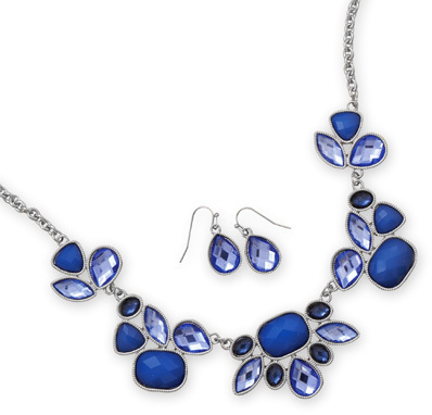 Oxidized Ornate Blue Glass Fashion Set