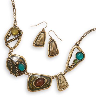 Antique Gold Tone Abstract Link Fashion Set