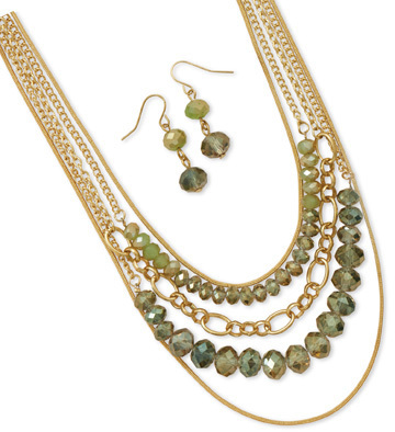 Gold Tone Multistrand Green Glass Fashion Set