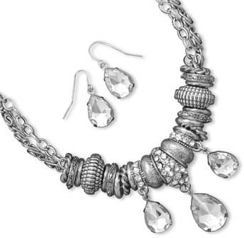 Pear Shape Crystal Drop Fashion Set - DISCONTINUED