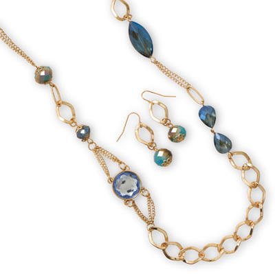 Long Gold Tone Fashion Set with Blue Glass