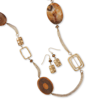 Long Gold Tone Textured Link Fashion Set with Agate - DISCONTINUED