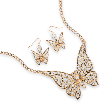 Ornate Butterfly Fashion Necklace and Earring Set - DISCONTINUED
