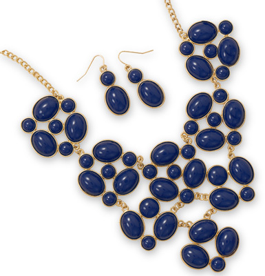 Gold Tone Navy Blue Bib Style Fashion Set
