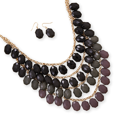 Four Tier Gold Tone Black and Grey Bead Fashion Set