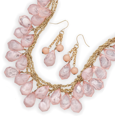 Faceted Pink Bead Fashion Necklace and Earring Set