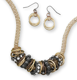 Gold Tone Mesh Fashion Necklace Set