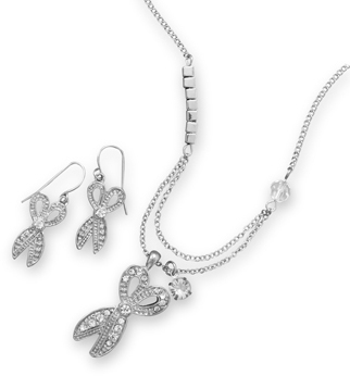 Silver Tone Crystal Scissors Fashion Necklace and Earring Set