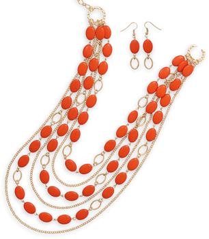 Gold Tone Orange Bead Fashion Set