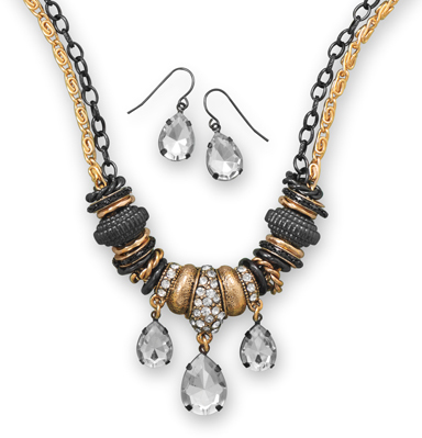 Two Tone Pear Shape Crystal Drop Fashion Set - DISCONTINUED