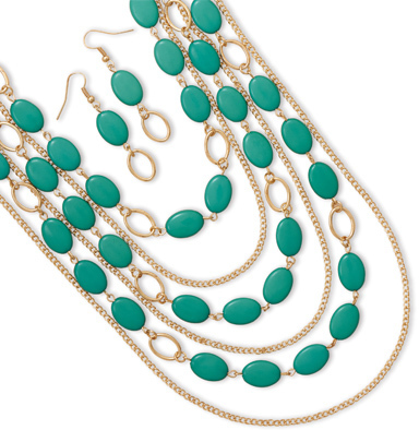 Gold Tone Aqua Bead Fashion Set