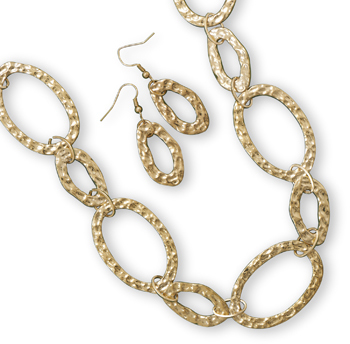 Hammered Gold Tone Fashion Set