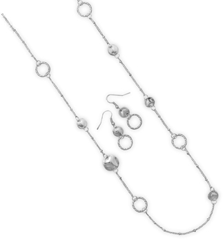Ultra Long Silver Tone Fashion Necklace and Earring Set