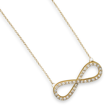 "16"" + 3"" Gold Tone Crystal Infinity Fashion Necklace"