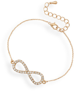 "7"" + 1"" Gold Tone Crystal Infinity Fashion Bracelet"