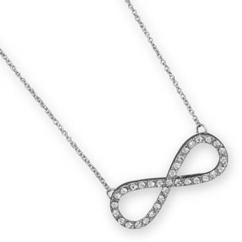 "16"" + 3"" Silver Tone Crystal Infinity Fashion Necklace"