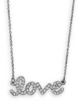"16"" + 3"" Silver Tone Crystal ""love"" Fashion Necklace"