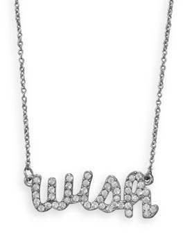 "16"" + 3"" Silver Tone Crystal ""wish"" Fashion Necklace"