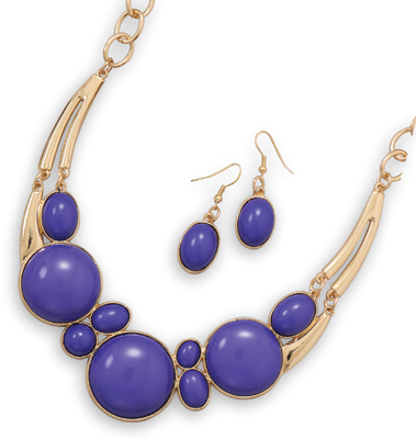 Gold Tone Purple Fashion Set