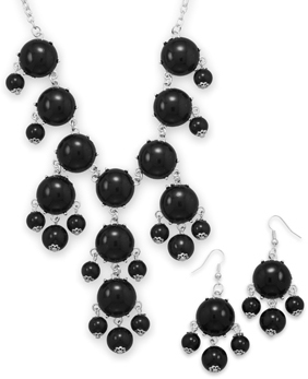 Silver Tone Black Bead Bubble Style Fashion Set
