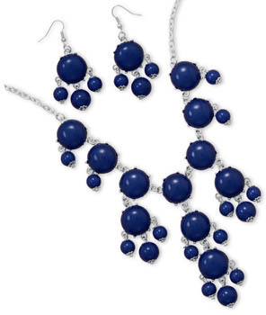 Silver Tone Blue Bead Bubble Style Fashion Set - DISCONTINUED