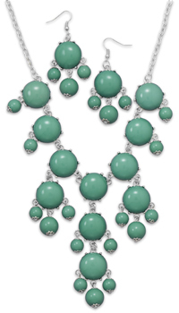 Silver Tone Aqua Bead Bubble Style Fashion Set