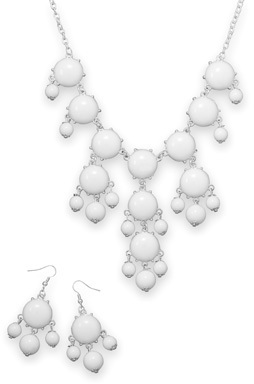 Silver Tone White Bead Bubble Style Fashion Set