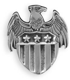 Eagle with Shield White Brass Jacket Pin
