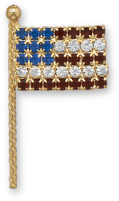 14 Karat Gold Plated Brass US Flag Pin - DISCONTINUED