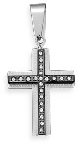 Stainless Steel Cross Pendant with Crystal