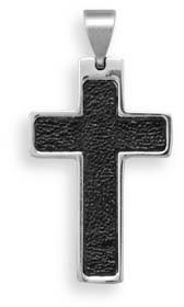 Stainless Steel Leather Inlay Cross Pendant