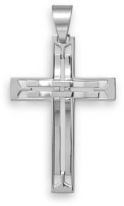 Stainless Steel Cut Out Design Cross Pendant