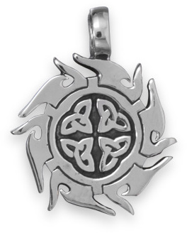 White Brass Celtic Design Pendant