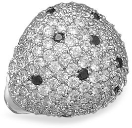 Rhodium Plated Brass CZ Ring