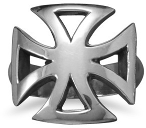White Brass Maltese Cross Ring - DISCONTINUED