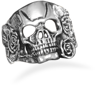 White Brass Skull and Rose Ring