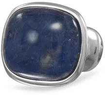 Rhodium Plated Brass Sodalite Ring