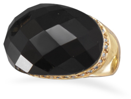 14 Karat Gold Plated Brass Ring with Black Onyx