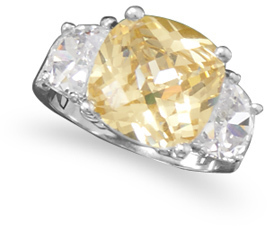 Rhodium Plated Brass Yellow CZ Ring