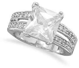 Rhodium Plated Brass Split Shank CZ Ring