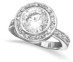 Rhodium Plated Brass CZ Halo Ring