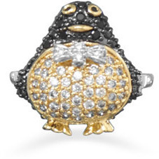 14 Karat Gold Plated Brass Penguin Ring with CZs