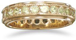 14 Karat Gold Plated Brass Ring with Green CZs