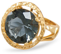 14 Karat Gold Plated Brass Ring with Dusky Blue CZ