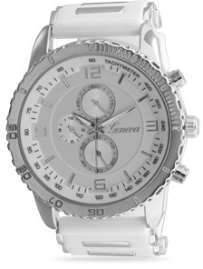 White Silicone Fashion Watch with Silver Tone Accents - DISCONTINUED