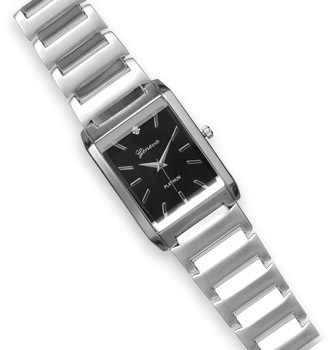 Silver Tone Mens Fashion Watch with Clear Crystal Accent